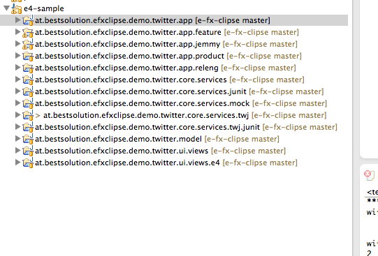 My recommended project structure for (JavaFX) e4 projects
